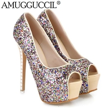 2017 New Peep Toe Glitter Apricot Silver Sexy Fashion Party Wedding High Heel Platform Spring Summer Lady Shoes Women Pumps L201