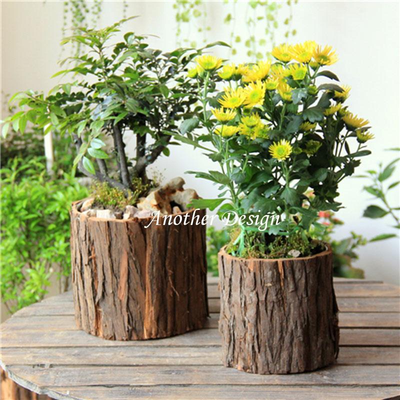 Natural wood veneer flower pots planters metal inside water proof zakka vintage pots natural tree veneer wood planters