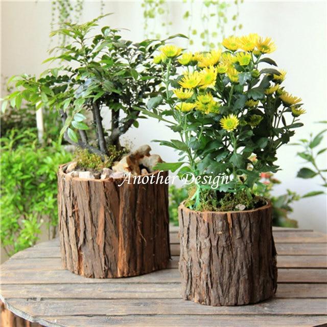 natural wood veneer flower pots planters metal inside water proof zakka vintage pots natural tree veneer - Wood Planters