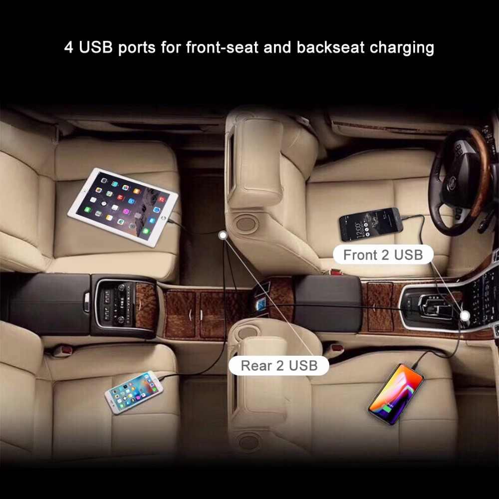 4 منفذ USB للسيارة شاحن سريع تهمة 3.0 شاحن سيارة مع 1.7m كابل للقرص الهاتف الذكي آيفون X QC 3.0 توسيع USB HUB
