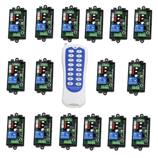 110V 220v wireless remote switch,Power Switch System 16 Receiver& 2 Transmitter  Light Lamp LED SMD ON OFF SKU: 5062 s70601 na s700 used in good condition