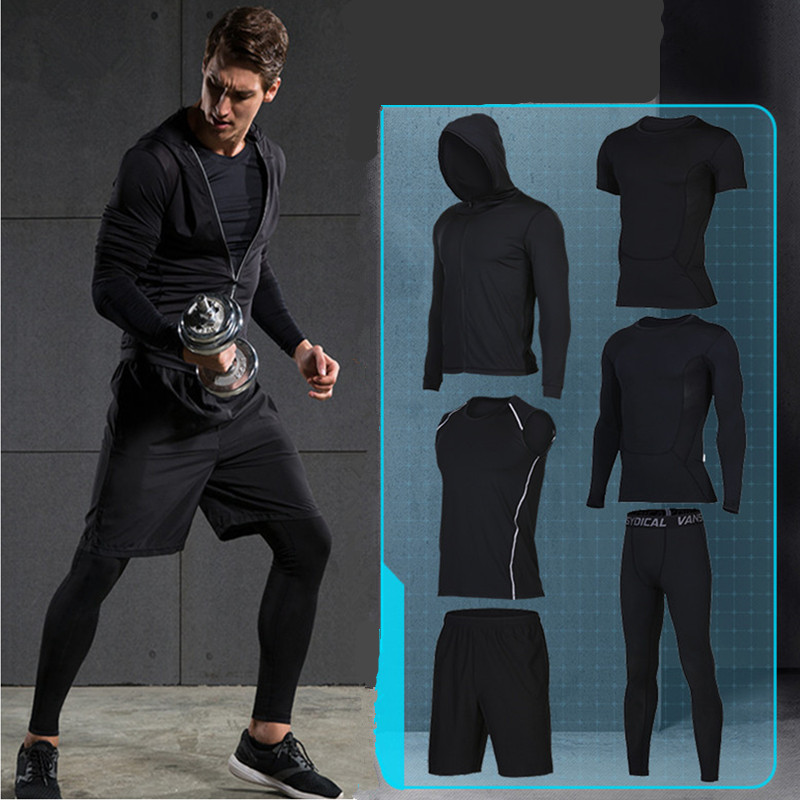 2017 jogging homme survetement quick dry sports suits men's fitness running clothing sets basketball training sportswear clothes 2017 compression 5pcs men fitness clothing sets quick dry sports running suit hood basketball soccer gym training jogging suits