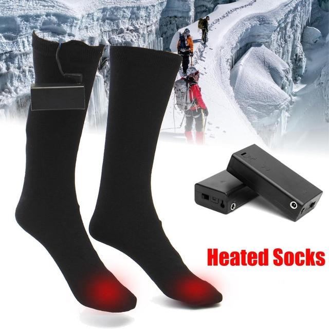 3V 50 Degree Heated Men Socks Winter Keep Warm Foot Leg Mid-calf Socks Unisex Men Women Casual Thermal Heating Long Cotton Sock