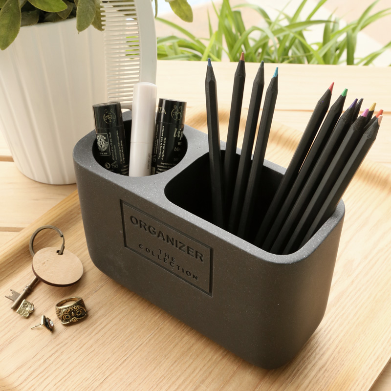 Pen Holders Affordable Students Office Desk 1pcs 2 Compartments Resin Pen Container Black School Stationery Desk Organizer
