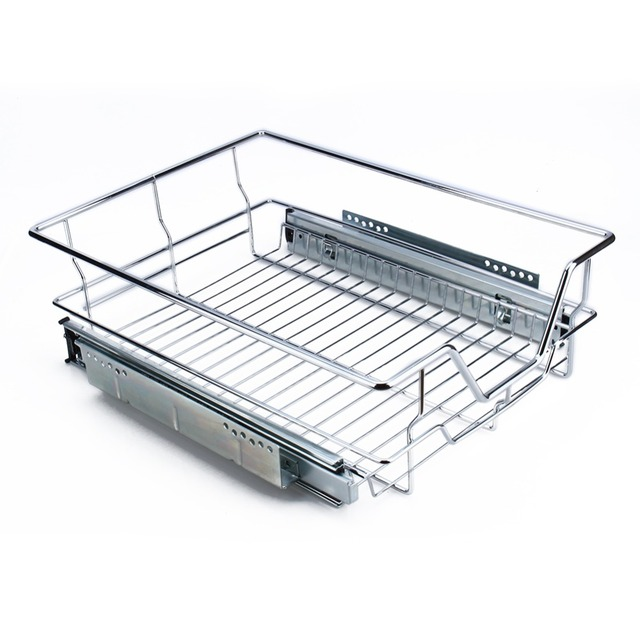 400mm Kitchen Sliding Cabinet Organizer Pull Out Chrome Wire Storage Basket Drawer Max Loading 20kg