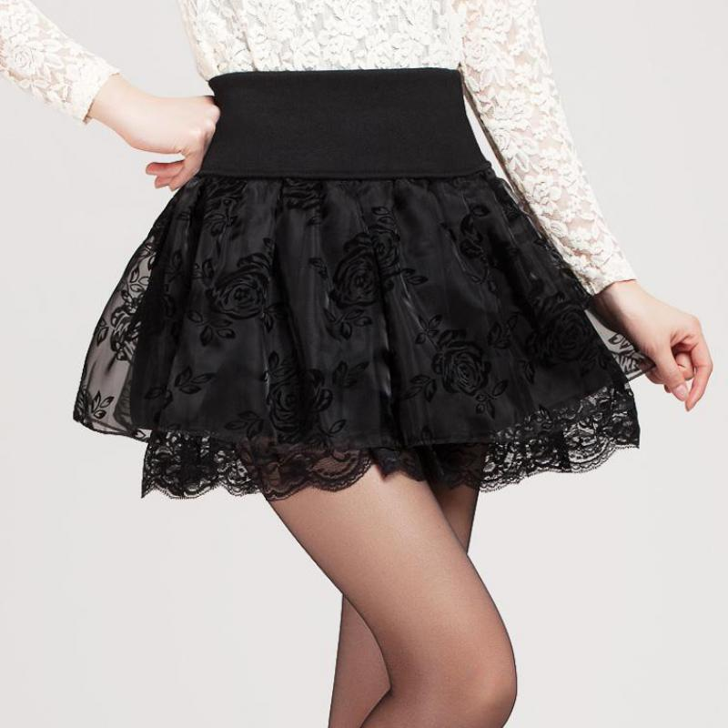 Zuolunouba 2018 Summer Skirt Preppy Style Flower Bow Mini Tutu Skirt Elasticity Lace Skirts Shorts Woman High Waist Large Size