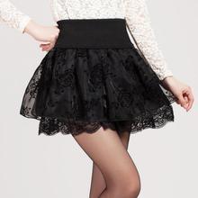 Zuolunouba saia estilo preppy flor, verão, mini tutu, elástica, renda, feminina, cintura alta, tamanho grande, 2018