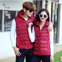 1 pcs Spring and Autumn Winter New Couple Down Cotton Vest Man Woman Plus Size 5XL Slim Hooded Warm jacket