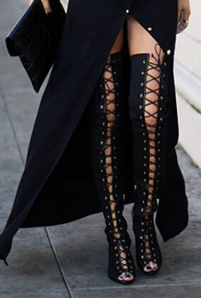 efd28f05ba7 2017 Hot Women Lace-up Thigh High Boots Cut-outs Gladiator Sandal Boots  Over Knee Booty Sexy Club Boots Women Plus Size 12 13