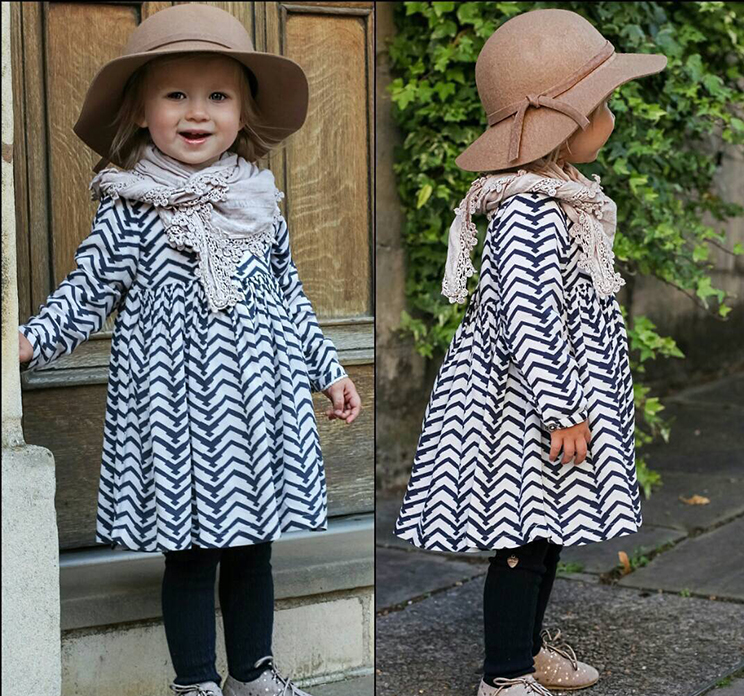 2017 new Europe spring Sawtooth lines princess dress Childrens dress Fashion baby girl long sleeve dress clothing good quality