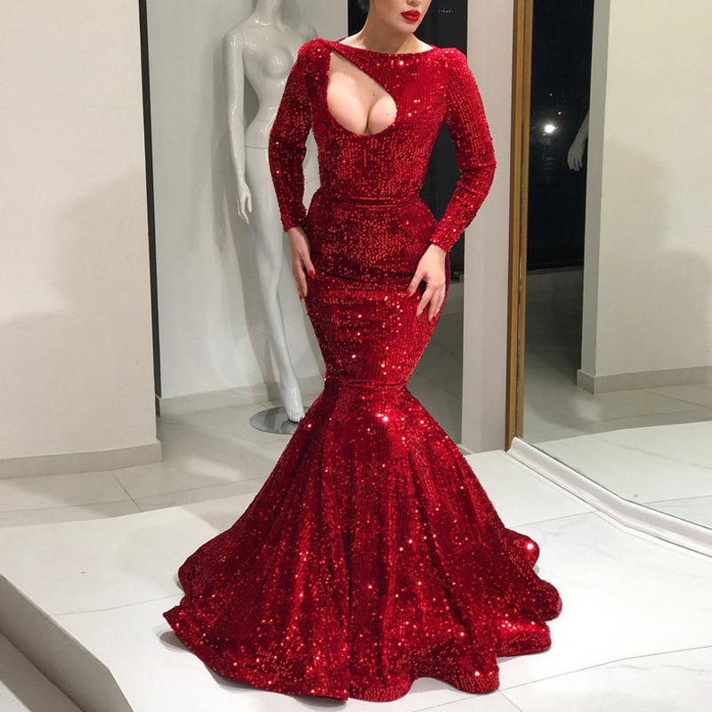 e2220f4a0d3 Dark Red Sequins Mermaid Evening Gowns Slash Neck Long Sleeves Floor Length Plus  Size Prom Gowns Sexy Maxi Women Dresses