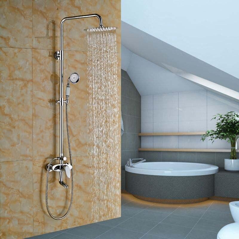 Luxury Bathroom Wall Mounted Round 8 Rain Shower Faucet Bathtub Mixer Tap Chrome thermostatic faucet 50271 wall mount bathroom 8 rain shower head chrome heldhead shower faucet set bathtub mixer tap torneira