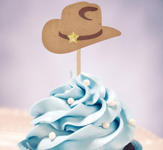 Gorros Vaqueros Occidentales Cupcake Toppers Boda Cumpleanos Baby