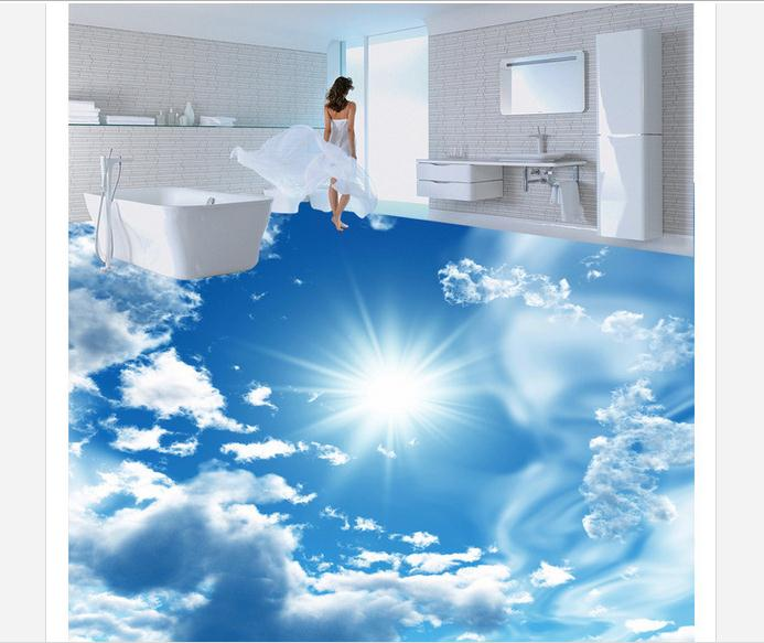 Free shipping custom mural 3d PVC Floor painting wallpaper Blue sky, white clouds, sun, 3D stereo, Ultra HD floor map decoration free shipping 3d stereo entrance hallway custom wallpaper vertical version european oil painting wallpaper mural