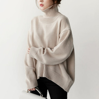 Taotrees Womens High Neck Warm Sweater Pullovers Solid Knit Loose Female Knitted Sweater High Quality