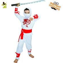 2017 Novos Meninos Ninja Branco Criança Trajes Horror Assustador Sangrento Trajes de Halloween Fantasia Vestido de Trajes Cosplay Para Crianças Meninos