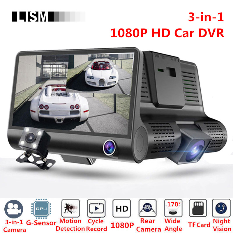 3-in-1 170 Degree 1080P HD Car DVR Front Back Rearview Camera Kit Wide Angle Vision Interior Rear View Cam Retrovisor Mirror 4 1 tft 1080p hd cmos wide angle car dvr rearview mirror w anions air purifier black blue