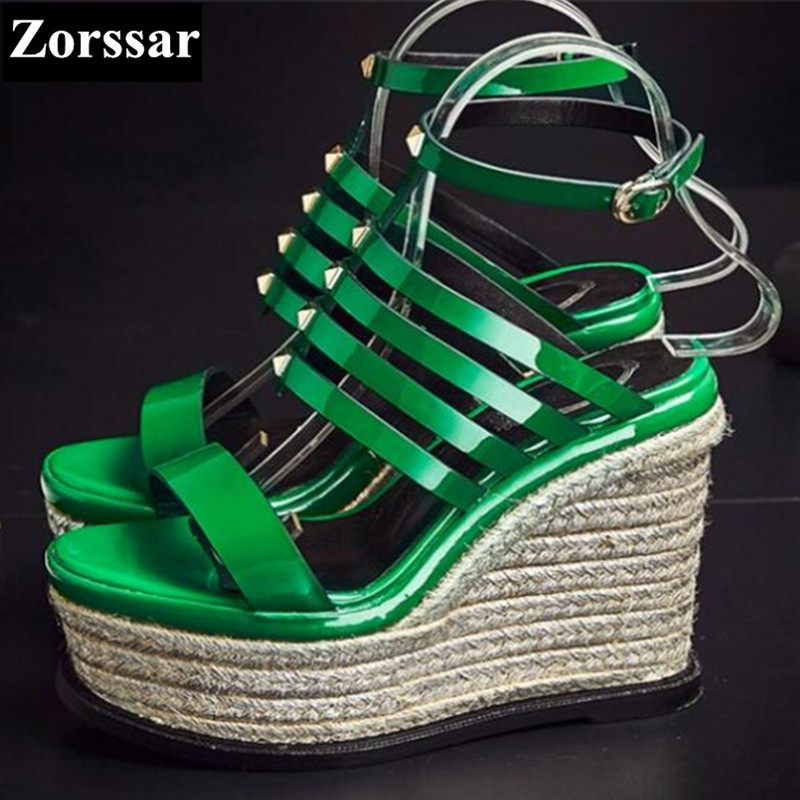 ФОТО Summer shoes woman wedge sandals peep toe high heels women platform shoes 2017 New Fashion patent leather womens pumps heels