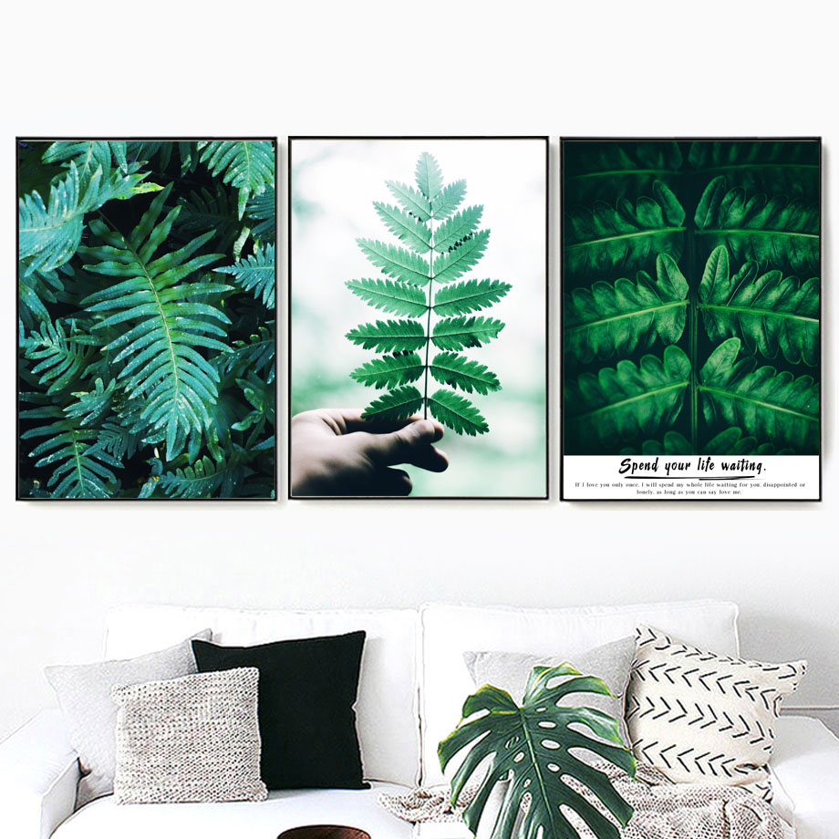 Wall Art Canvas Painting Fresh Green Leaves Love Story Plants Nordic Posters And Prints Wall Pictures For Living Room Decoration in Painting Calligraphy from Home Garden
