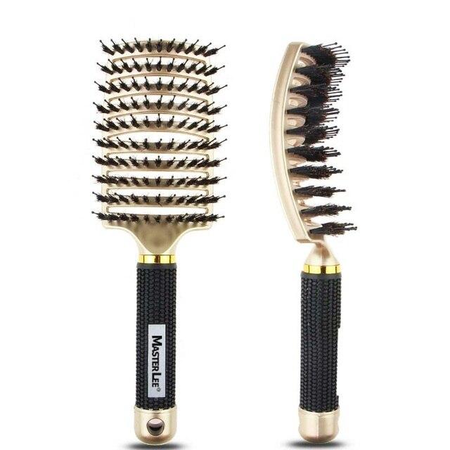 Cepillo de pelo profesional peine Mane plástico antiestático masaje peine cojín grande peine curvado peluquería Estilo Q1