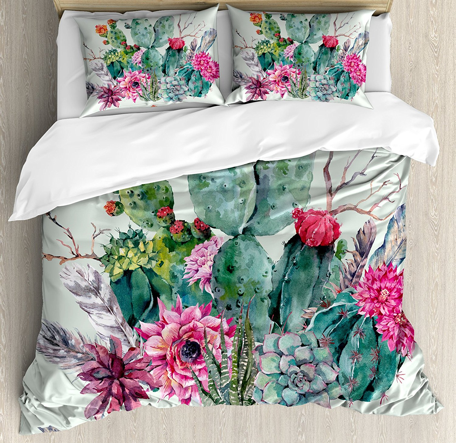 15 Boho Bedroom Designs: Cactus Decor Duvet Cover Set Spring Garden With Boho Style