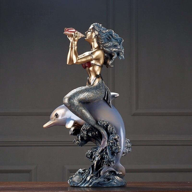 Sirène assis sur un dauphin soufflant une conque salon armoire à vin fenêtre bureau décoration de la maison ameublement accessoires