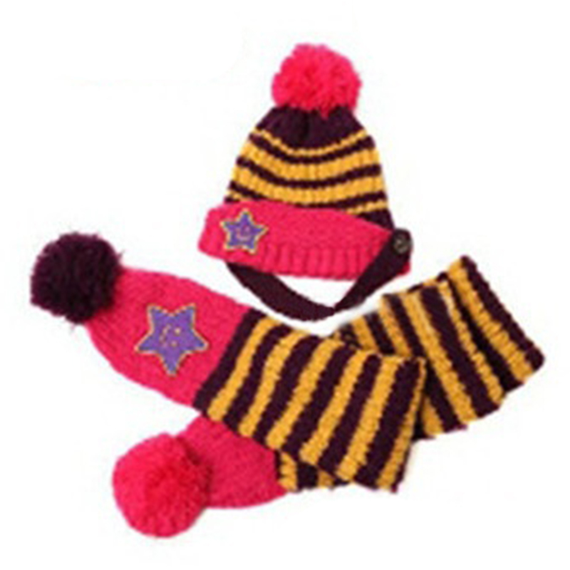 Baby&Kids Fashion warm caps Striped Hat+ Scarf Set Winter Baby Hats Christmas Beanie Cap Gifts(purple)