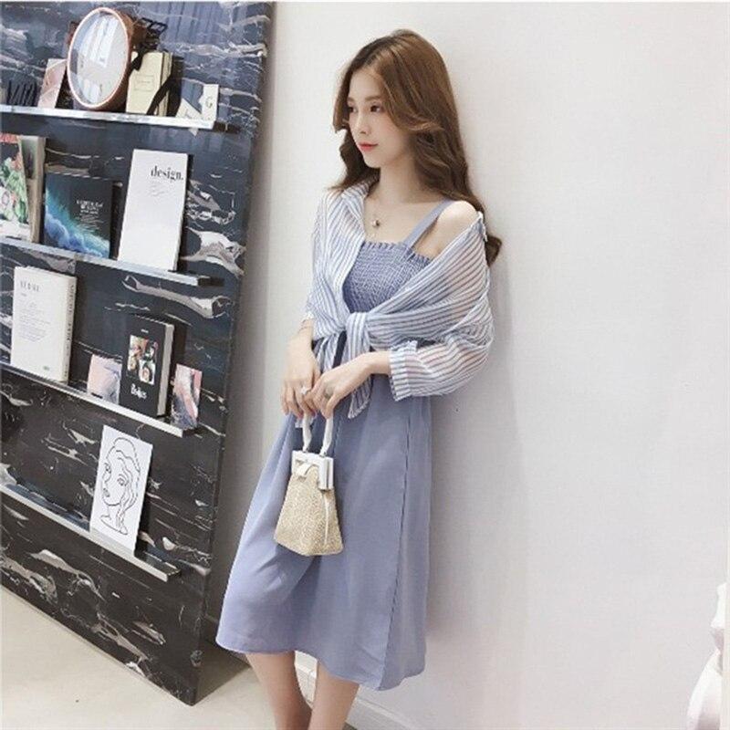 women summer dresses pullover sleeveless loose Knee-Length dresses 2019 Summer style Slash neck stripe two-piece dresses 3