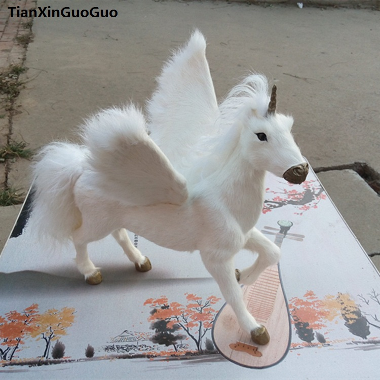 simulation unicorn large 32x25x34cm hard model polyethylene&furs white fox handicraft home decoration gift s0775 toddler girl princess dress flower kids dresses for baby girls clothes dresses for party and wedding clothing 13 color choose