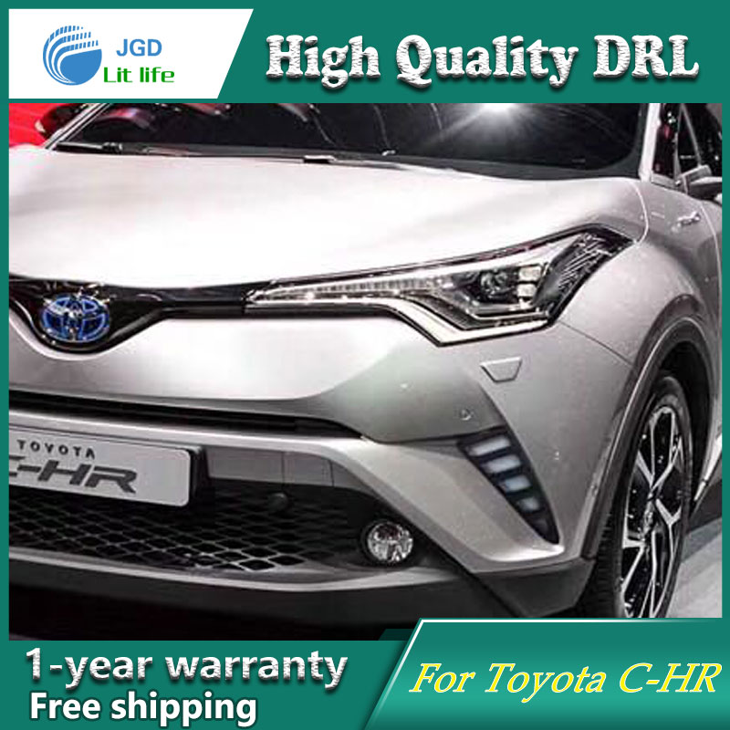 Free shipping ! 12V 6000k LED DRL Daytime running light case for Toyota CHR C-HR 2017 Fog light Car styling 2pcs pair sunkia high bright car led drl car styling daytime running lights with fog lamp hole for toyota chr c hr 2016 2017