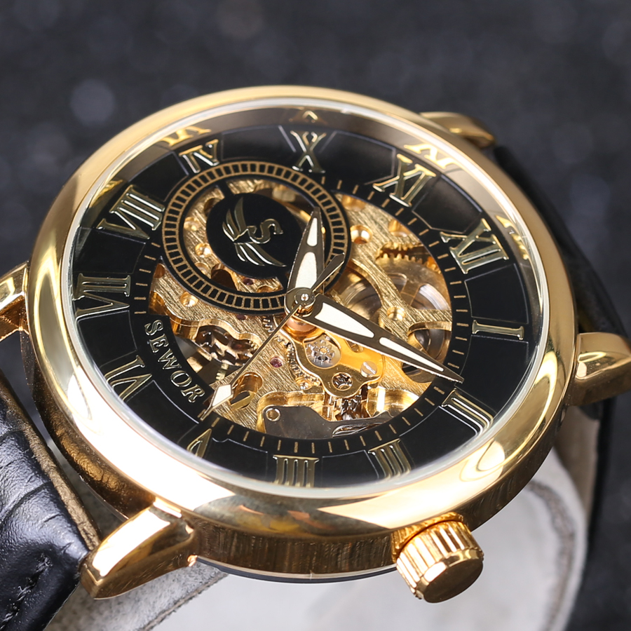 2019 New SEWOR 3D Logo Design Hollow Engraving Black Gold Case Leather Skeleton Mechanical Watches Men Luxury Brand Heren Horlog