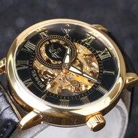 2019 nowy SEWOR 3D Logo Design grawerowanie Black Gold Case skórzany szkielet mechaniczne zegarki mężczyźni luksusowej marki Heren Horlog