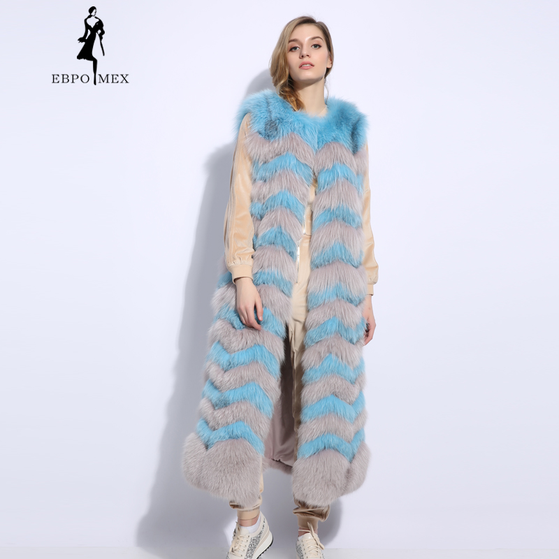 Fourrure 2018 En Femmes De L'eau Manteau Gilet Gris golden Cuir Renard Boutique Véritable Mode Naturel Casual Ondulation Bleu green Mince Blue IXIrx