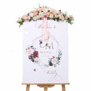 Image 5 - الورد الفاوانيا الزهور الاصطناعية إكليل الأوروبي Lintel جدار ديكور زهرة الباب إكليل لحفل الزفاف ديكور المنزل عيد الميلاد