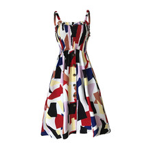 2019 New Summer Print Dress Vintage Beach Boho Dress Streetwear Dress Sexy Spaghetti Strap backless A-line Women Dress