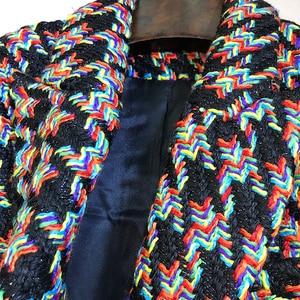 Image 4 - HIGH STREET Newest Runway 2020 Designer Blazer Womens Lion Metal Buttons Houndstooth Short Jacket Blazer Coat
