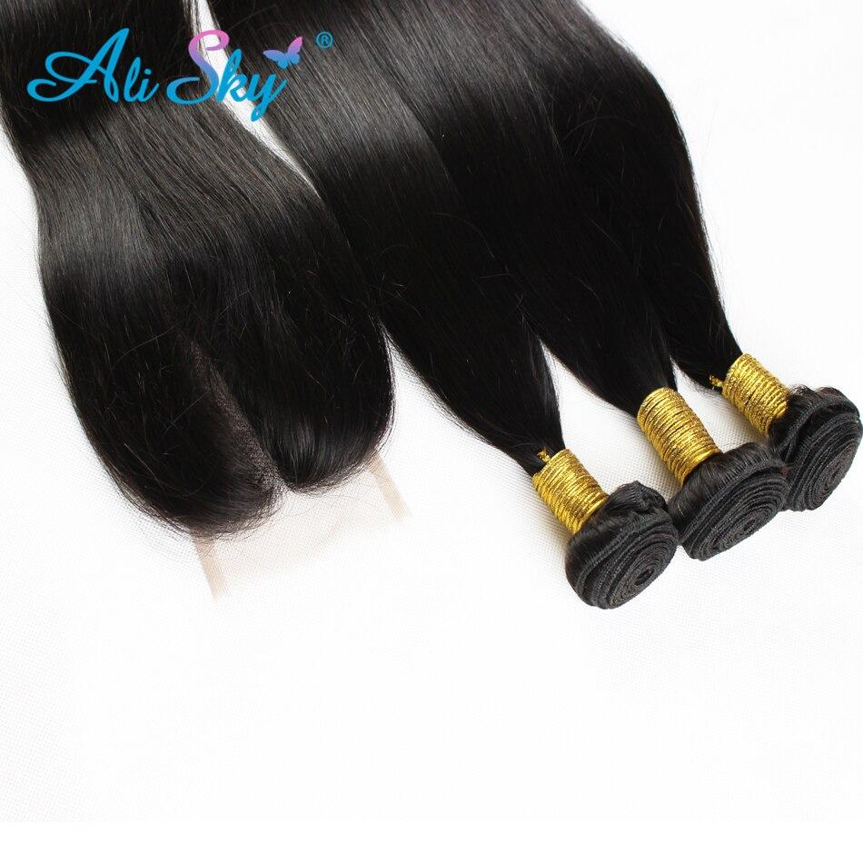 Brazilski naravnost lasje 4 snopi z 1pcs vrhnje čipke zaprtje 100% - Človeški lasje (za črne) - Fotografija 3