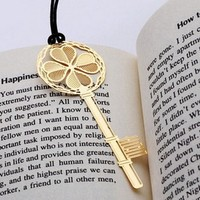 20pcs Set Vintage Bookmarks Cartoon Clover Key With Rope Plated Stainless Steel Share Tab For Books