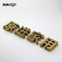 Готовые 316 нержавеющая сталь письмо знак золотой букв алфавита