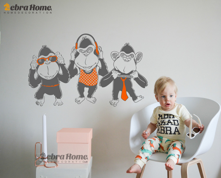 Three Monkey Listening Music And Dance Wall Decal Sticker Art Children Baby Bedroom Mural Wallpaper Boy Nursery Room Xcm In Wall Stickers From Home