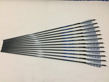 12pcs 30″Carbon arrow spine340 with ith 5″ Turkey fletching arrow tip for traditional bow archery and hunting