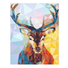 RIHE Colorful Deer Diy Painting By Numbers Abstract Oil On Canvas Hand Painted Cuadros Decoracion Acrylic Paint Art