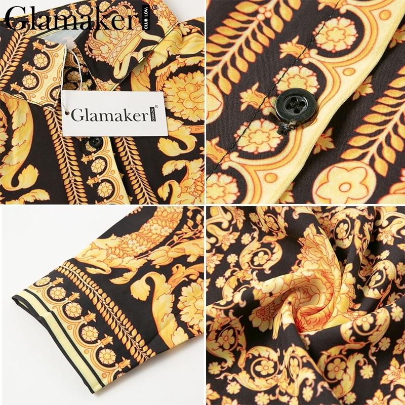 Glamaker Sexy paisley vintage print gold dress Women v neck short blouse dress autumn elegant party