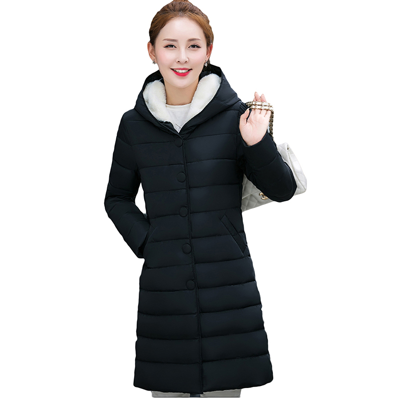 Winter Jacket Women 2017 New Cotton Padded Coat Fashion Plus Size Hooded Outerwear Warm Long Solid Down Cotton Coat YP0574 new winter women down cotton jacket long thick women coat padded fashion warm coat outerwear hood over coat slim coat jacket