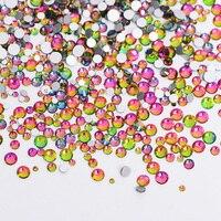 1Pack Mix Sizes Crystal Flame Rainbow Non Hotfix Flatback Glitter Nail Rhinestones Nails Accessories Nail Art