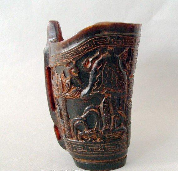 Colección copa de hueso de cuerno antiguo, talla Lotus, envío - Decoración del hogar