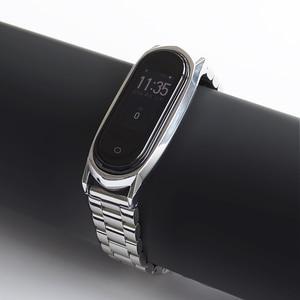 Image 3 - Mi Band 5 حزام ل شاومي الفرقة 4 3 NFC حزام سوار معدني الفولاذ المقاوم للصدأ النسخة العالمية متوافق الأساور Correa