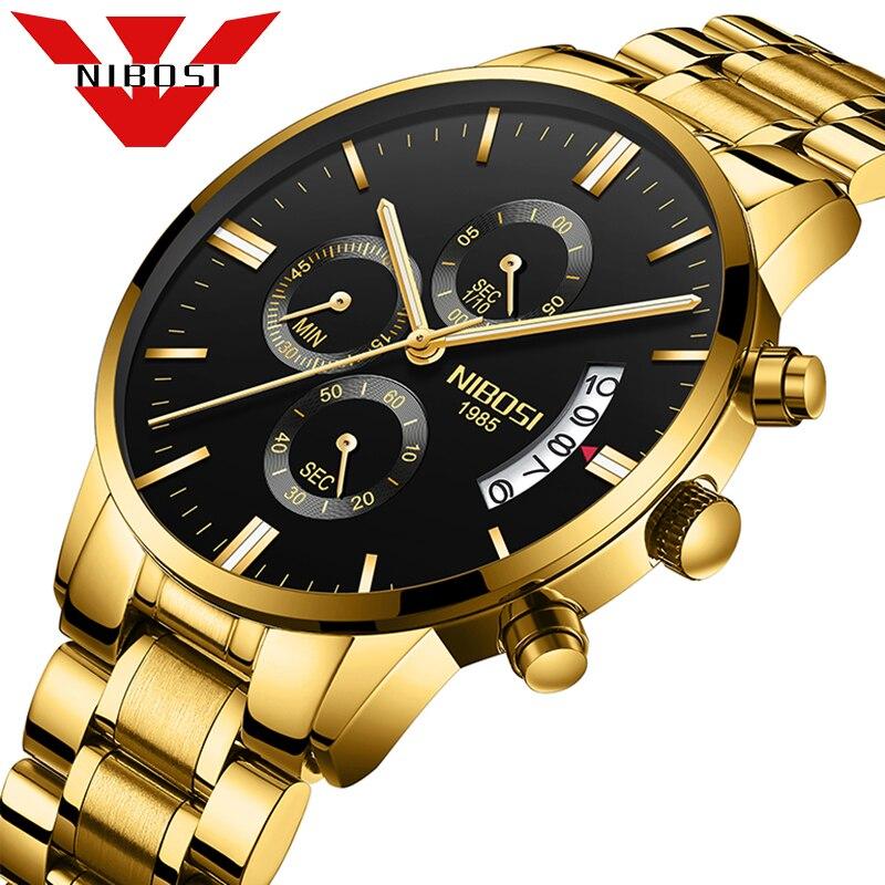 Luxe Merk NIBOSI Mannen Sport Horloge Waterdicht Casual Horloge Quartz Militaire Lederen Stalen heren Horloges Relogio Masculino