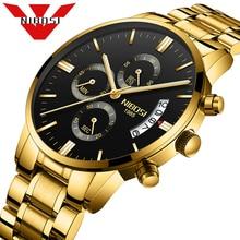 Элитный бренд NIBOSI для мужчин спортивные часы водонепроницаемые повседневные часы кварцевые Военная Униформа кожа сталь Мужчин's наручные Relogio Masculino
