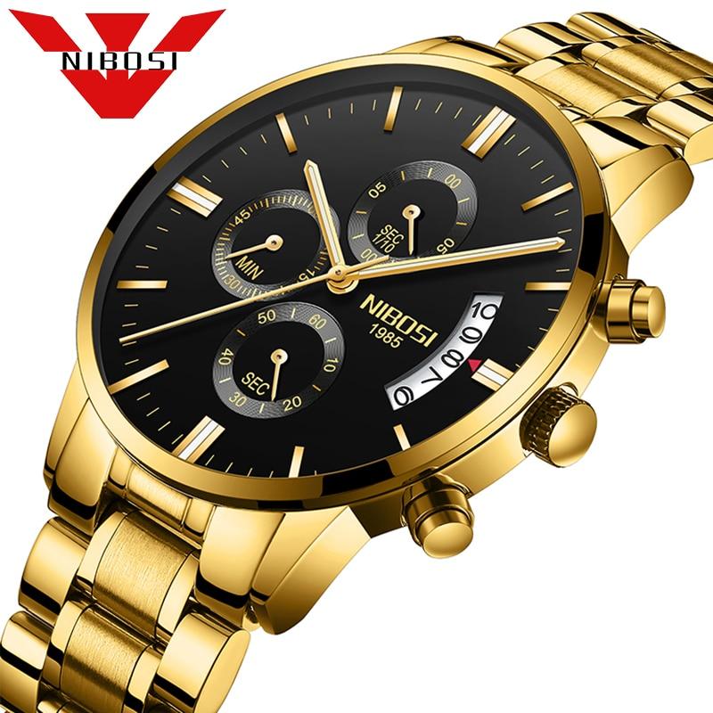 Luxury Brand NIBOSI Men font b Sport b font Watch Waterproof Casual Watch Quartz Military Leather